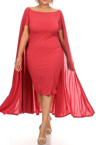 Plus Size Solid Short Sleeve Off The Shoulder Midi Bodycon Dress