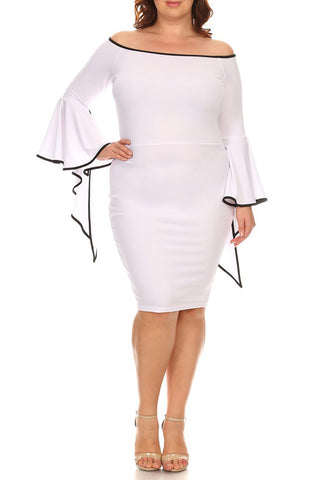 Plus Size Solid Off Shoulder Midi Dress Long Flutter Sleeves