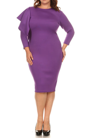 Plus Size Glam Ruffled Shoulder Plus Size Bodycon Dress