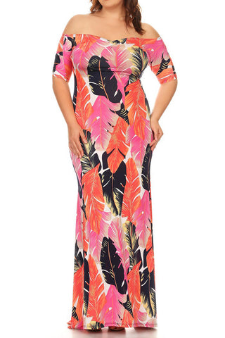 Plus Size Summer Breeze Floral Off Shoulder Maxi Dress
