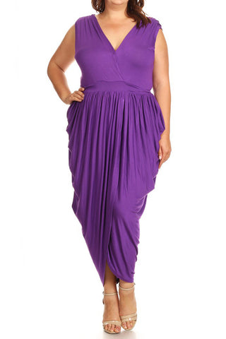 Plus Size Elegant Sleeveless V-Neck Wrap Maxi Dress