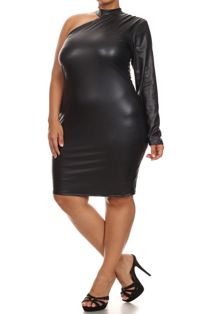 ae1cf4159bc21 Plus Size Sexy Leather One Sleeve Mid Dress – Plussizefix