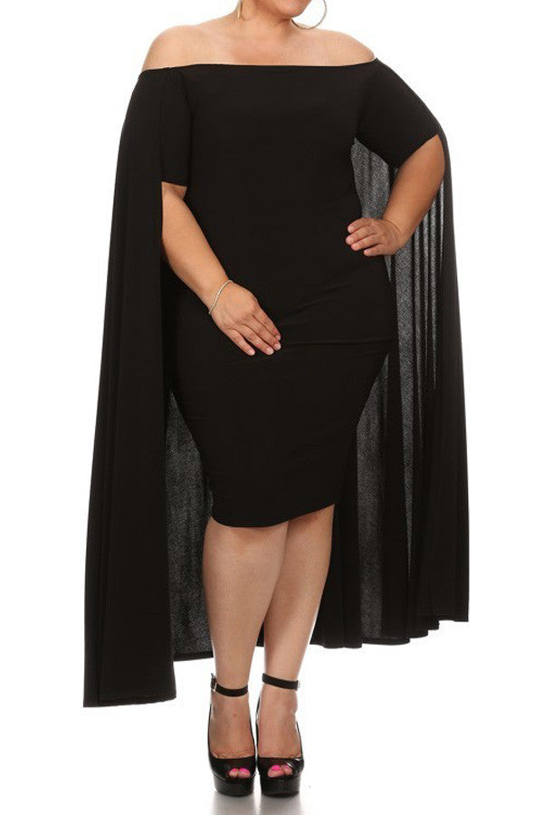 Dazzling Caplet Plus Size Midi Dress