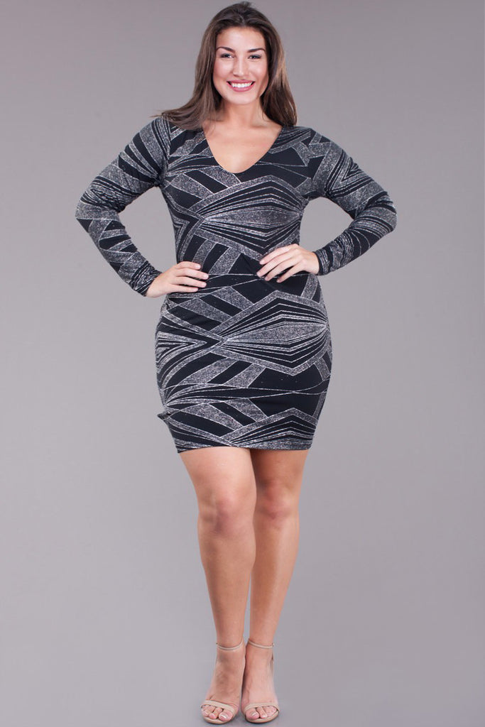 Shine Bright Silver Abstract Plus Size Dress Plussizefix