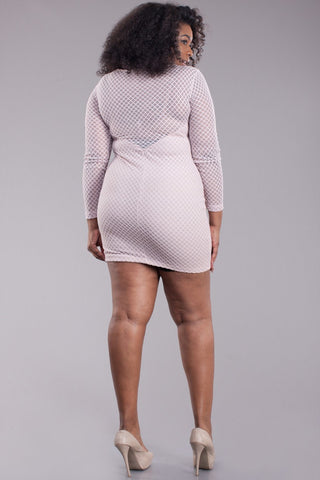 Mesh Net Sleeves Plus Size Mini Dress