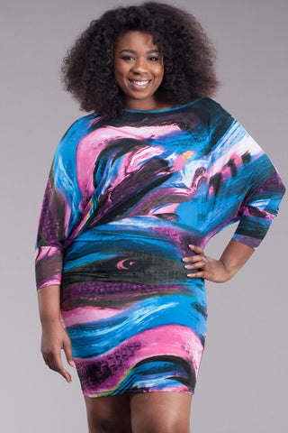 Abstract SLAY 3/4 Sleeve Plus Size Dress