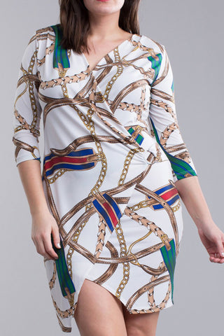 Designer Chain Print Plus Size Dress