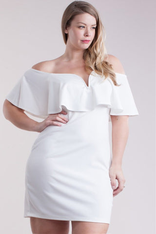 Plus Size Off Shoulder Bodycon Dress V Shape Wired Neckline - Ivory