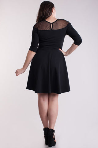 Flare Round Neckline Polka Plus Size Dress - Black