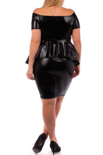 Plus Size Wide Collar Shiny Peplum Club Dress
