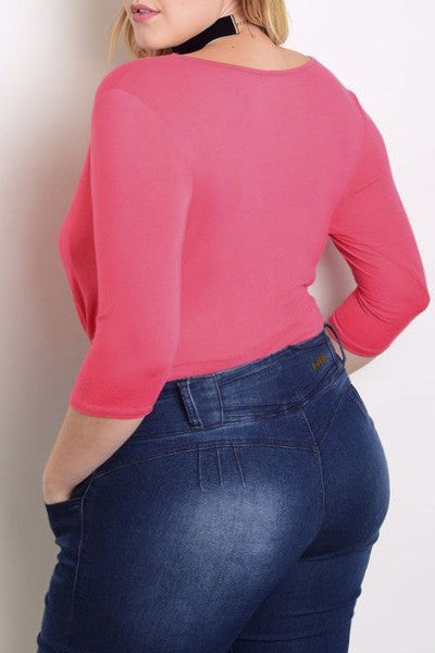 Gorgeous Pleated Plus Size Pink Bodysuit