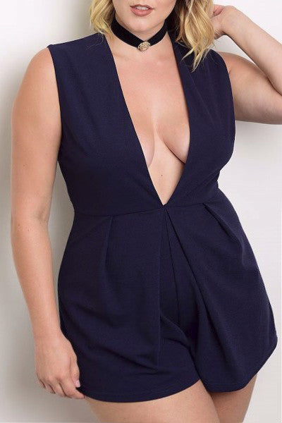City Gal Plus Size Deep Plunging V Romper