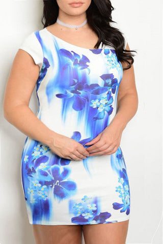 Pretty Floral Watercolor Plus Size Dress