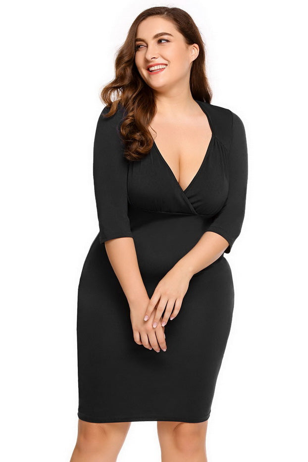 Plus Size Solid Chic V Neckline Bodycon Cocktail Dress