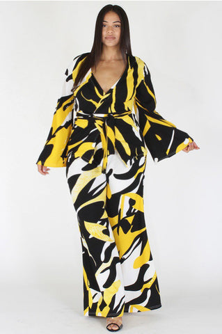 Plus Size Vibrant Abstract Tie Around Top & Wide Leg Set