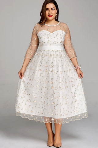 Plus Size Gold Embroidery See Through Layered Scalloped Dress