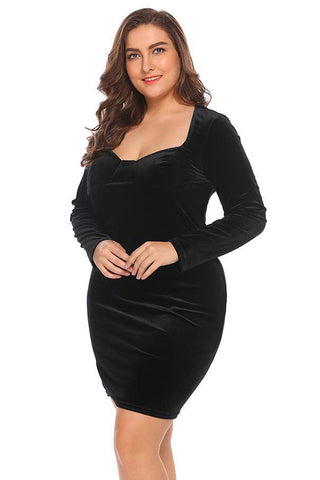 Plus Size Velvet Sweetheart Solid Bandage Bodycon Dress
