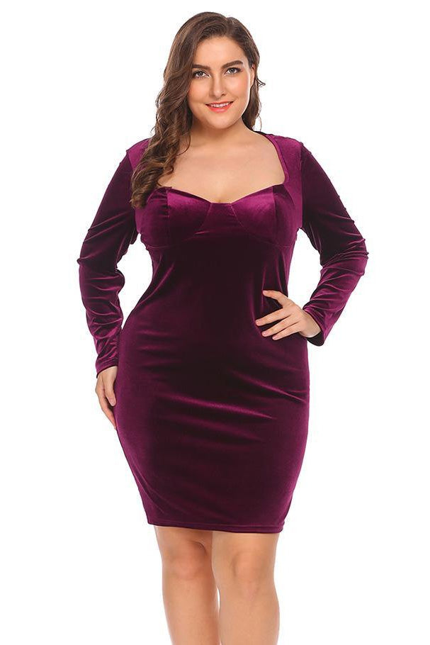 69a7bf1f04c Plus Size Velvet Sweetheart Solid Bandage Bodycon Dress – Plussizefix