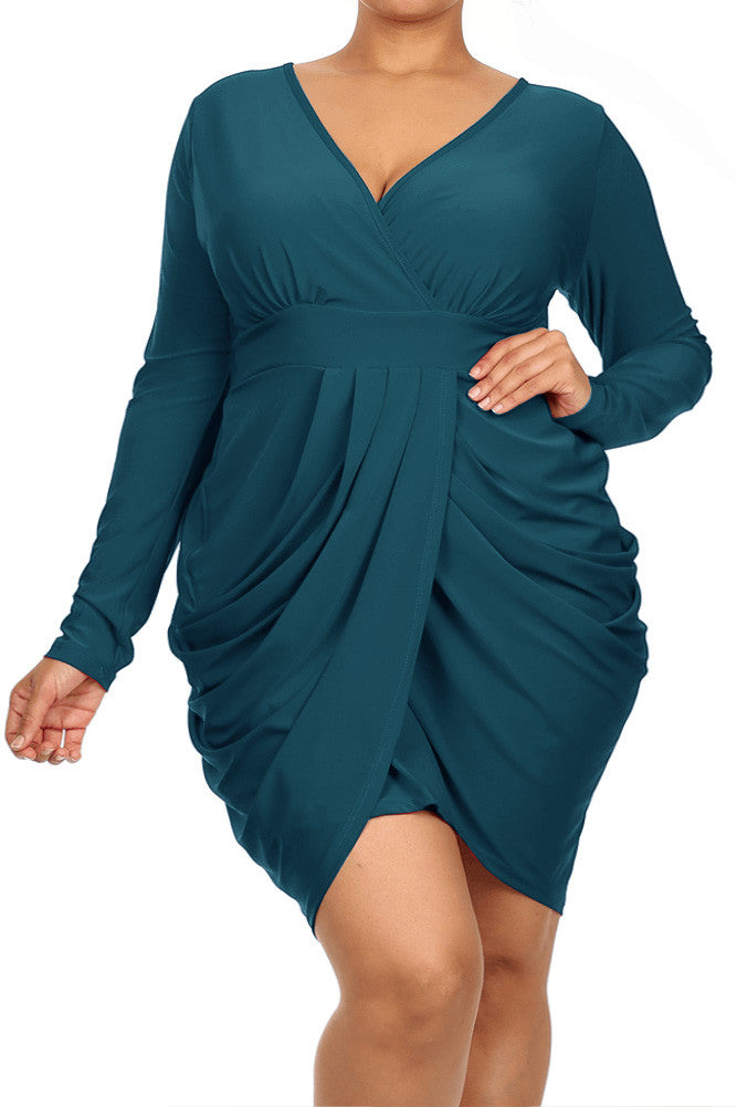 a52aa0df2e0 Plus Size Long Sleeve V Neck Bubble Aqua Blue Dress – Plussizefix