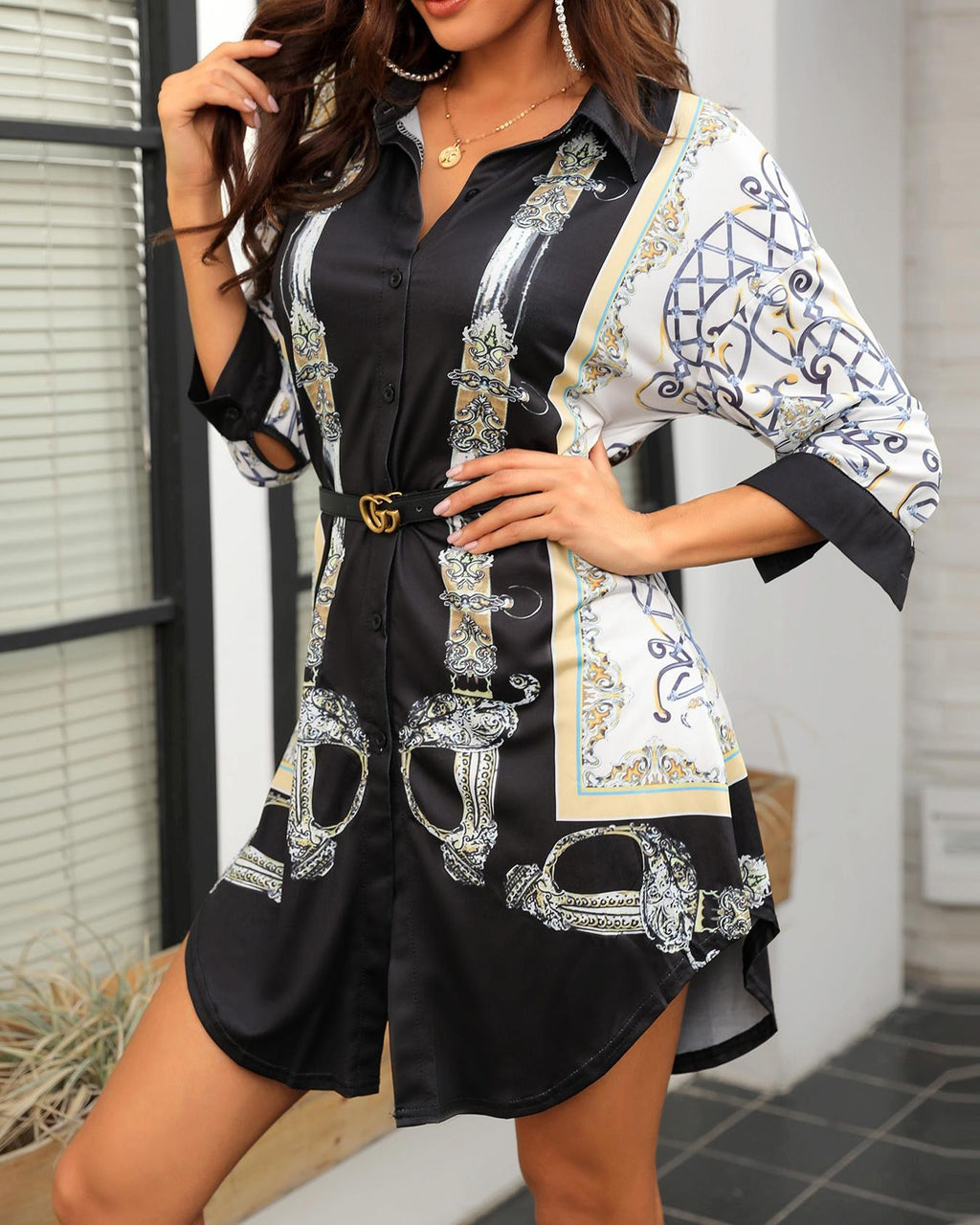 Plus Size Mixed Print Button Up Shirt Dress Top