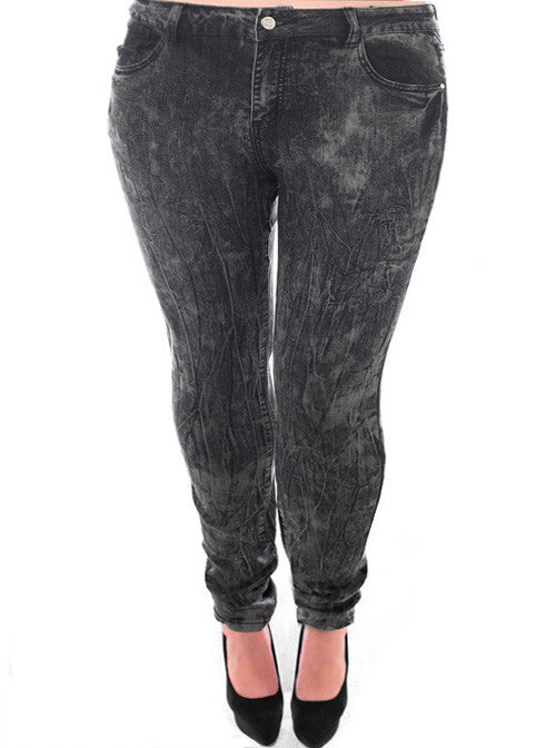 Plus Size Acid Wash Textured Grey Skinny Jeans – Plussizefix.com