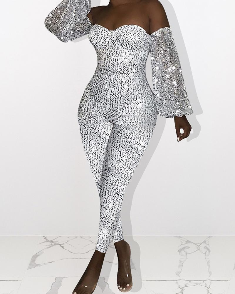 Plus Size Sequins Lantern Sleeve Off Shoulder Jumpsuit