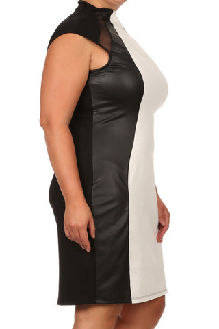 Plus Size City Night Leather Paneled White Midi Dress