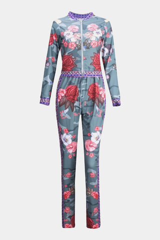 Plus Size Designer Print Two Piece Zip Up Top Tracksuit Set