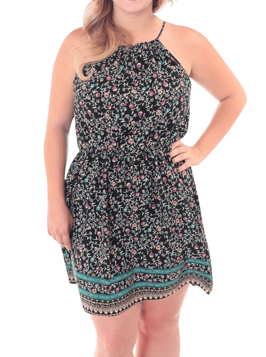 Plus Size For Love Floral Black Dress