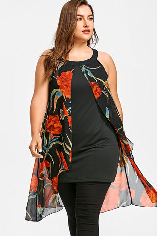 Plus Size Floral Flowy Chiffon Panel Blouse Top