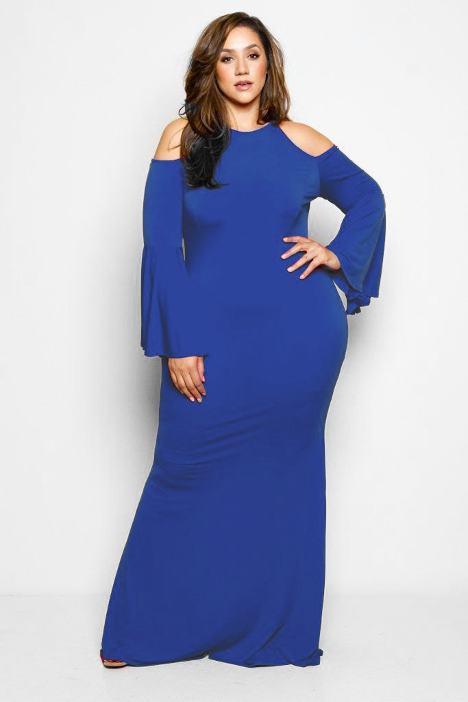 Plus Size Showstopper Bell Sleeve Mermaid Maxi Dress – Plussizefix