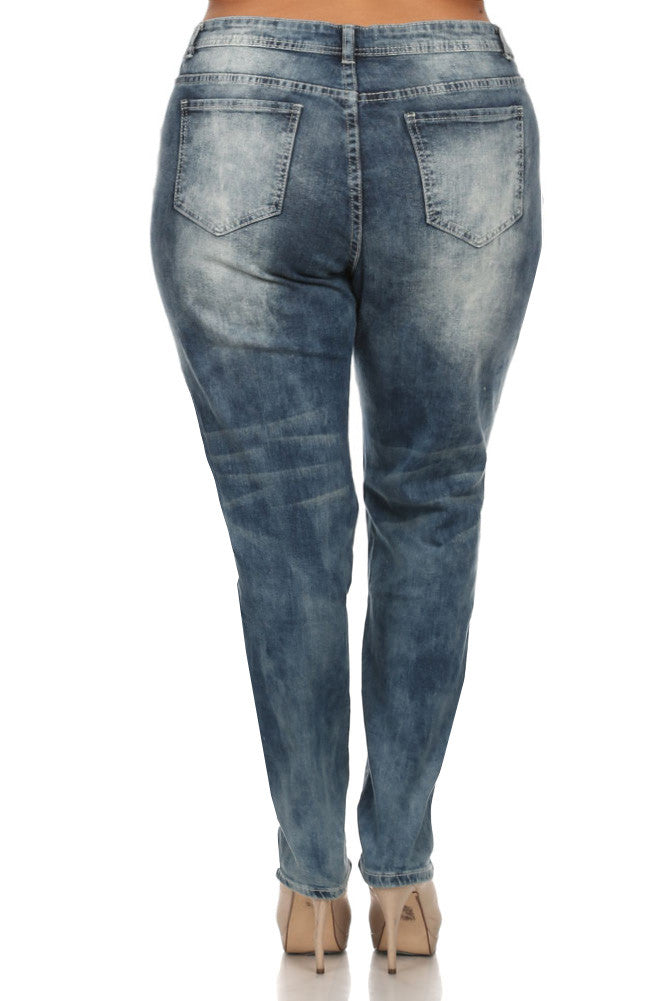 Plus Size Distressed Boyfriend Denim Faded Jeans
