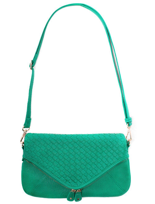 Teal Adorable Woven Clutch Bag