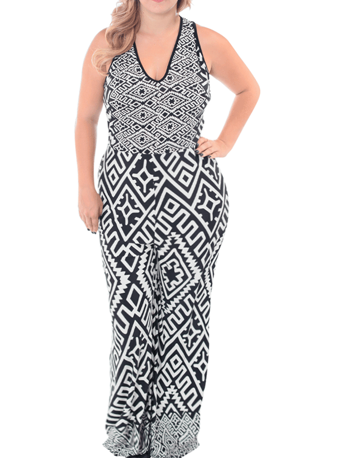 Plus Size Favorite Tribal Print Jumpsuit