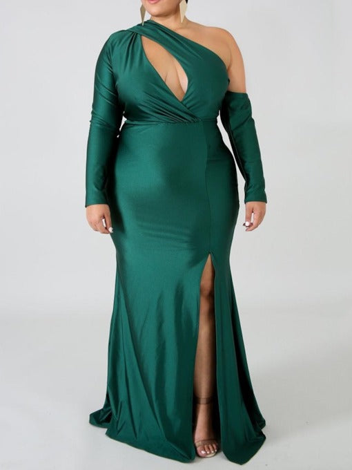 Plus Size Oblique Collar Long Sleeve Hollow Dress