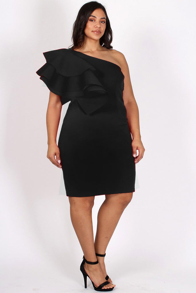 Cosmopolitan Ruffled One Shoulder Plus Size Dress Plussizefix