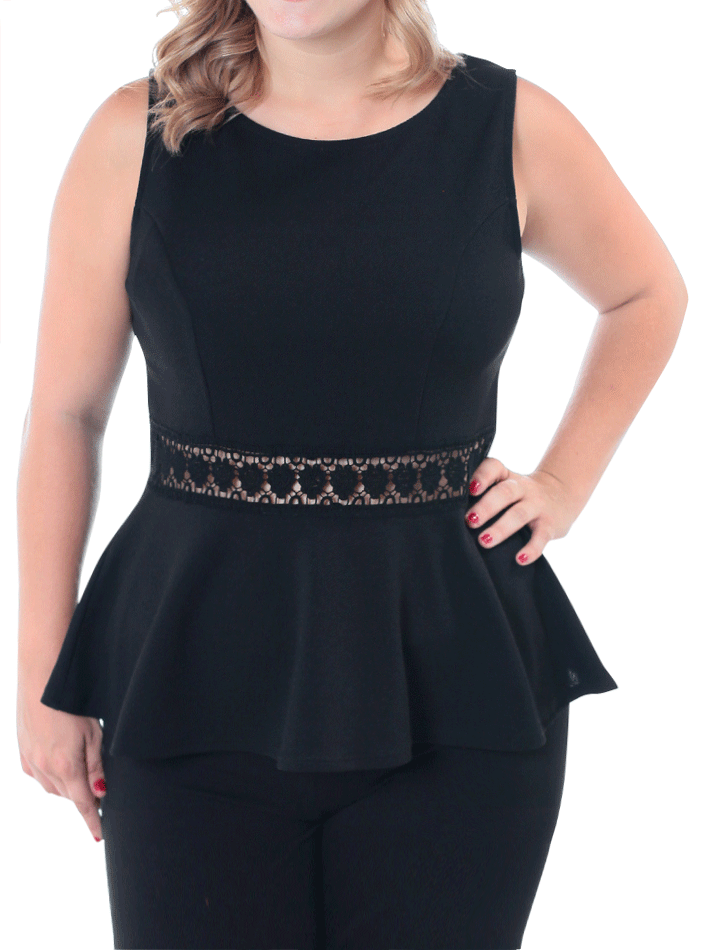 Plus Size Darling Crochet Peplum Black Top