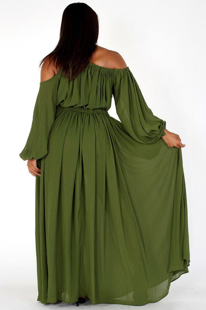 f8410dd47bd Plus Size Queen Flow Off Shoulder Maxi Dress – Plussizefix