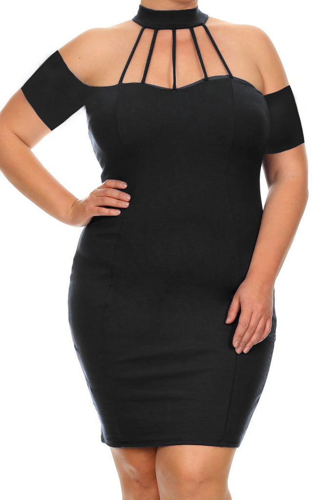 Plus Size Mod Choker Textured Sexy Mini Dress