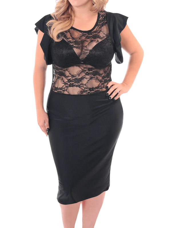 Plus Size Shine Bright See Through Lace Dress
