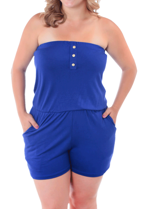 Plus Size Venture Out Royal Blue Romper