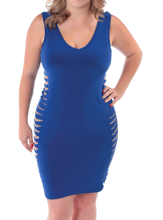Plus Size Hot Shredded Blue Bodycon Dress