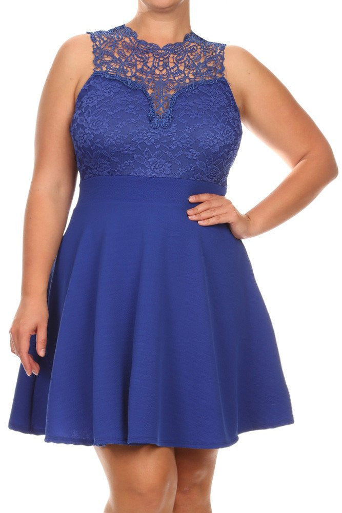 Plus Size New Romance Lattice Lace Dress