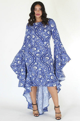 Plus Size Beautiful Paisley Bell Sleeve Hi Lo Dress [SALE]