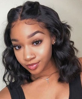 Body Wave Short Bob Lace Front Human Hair Wigs Pre-Plucked