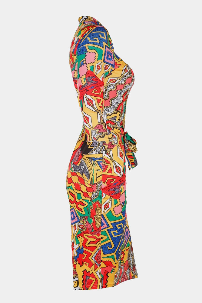 Plus Size Colorful Zip Up Half Sleeve Vibrant Bodycon Dress
