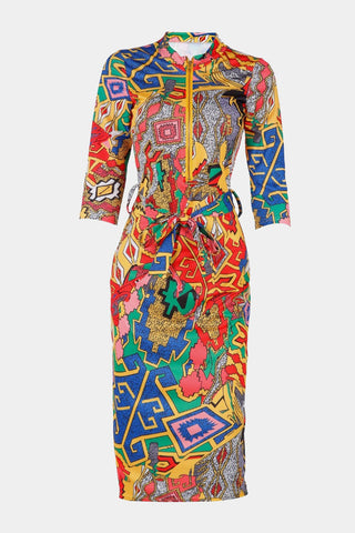 6c390934df0 Plus Size Colorful Zip Up Half Sleeve Vibrant Bodycon Dress ...