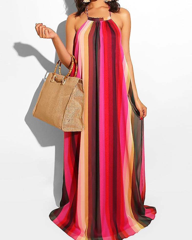 Halter Open Back Multicolor Stripes Maxi Dress