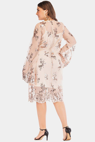 Plus Size Sequined Two Piece Sheer Bell Sleeve Dress
