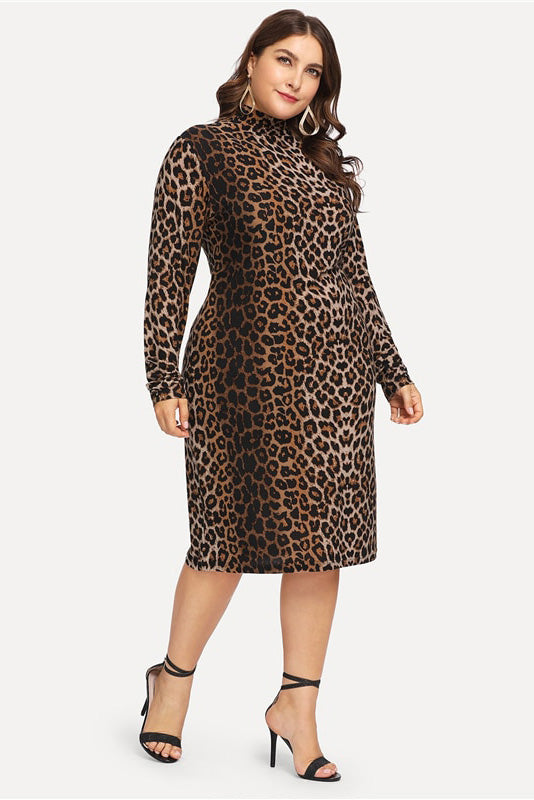 Plus Size Leopard Print Bodycon Long Sleeve Dress